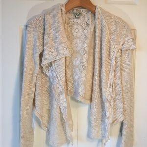 Lucky brand white crochet knit cardigan